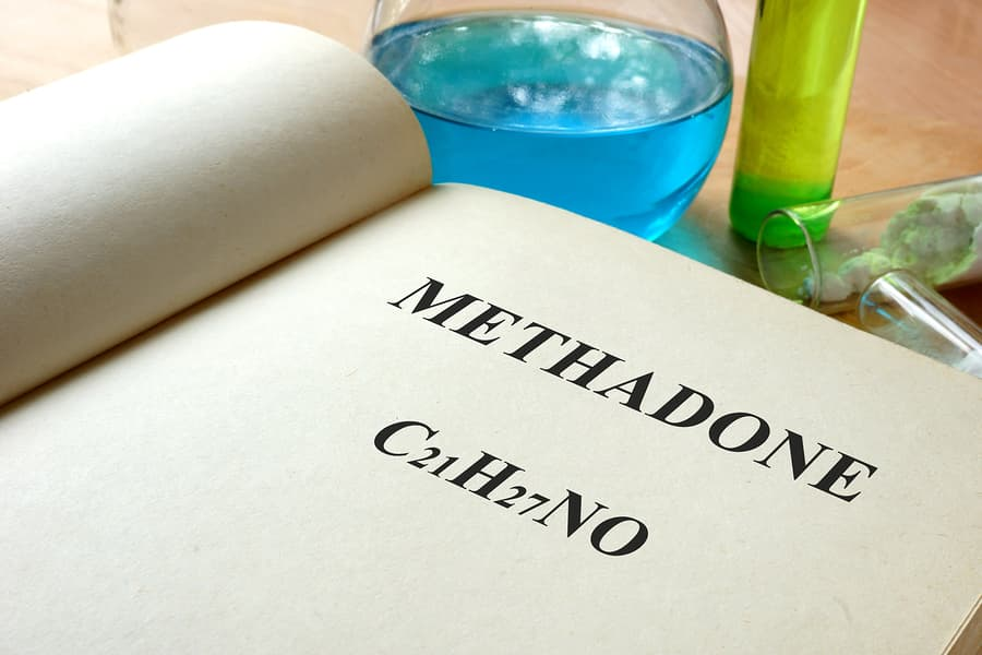 Paper with methadone and test tubes.