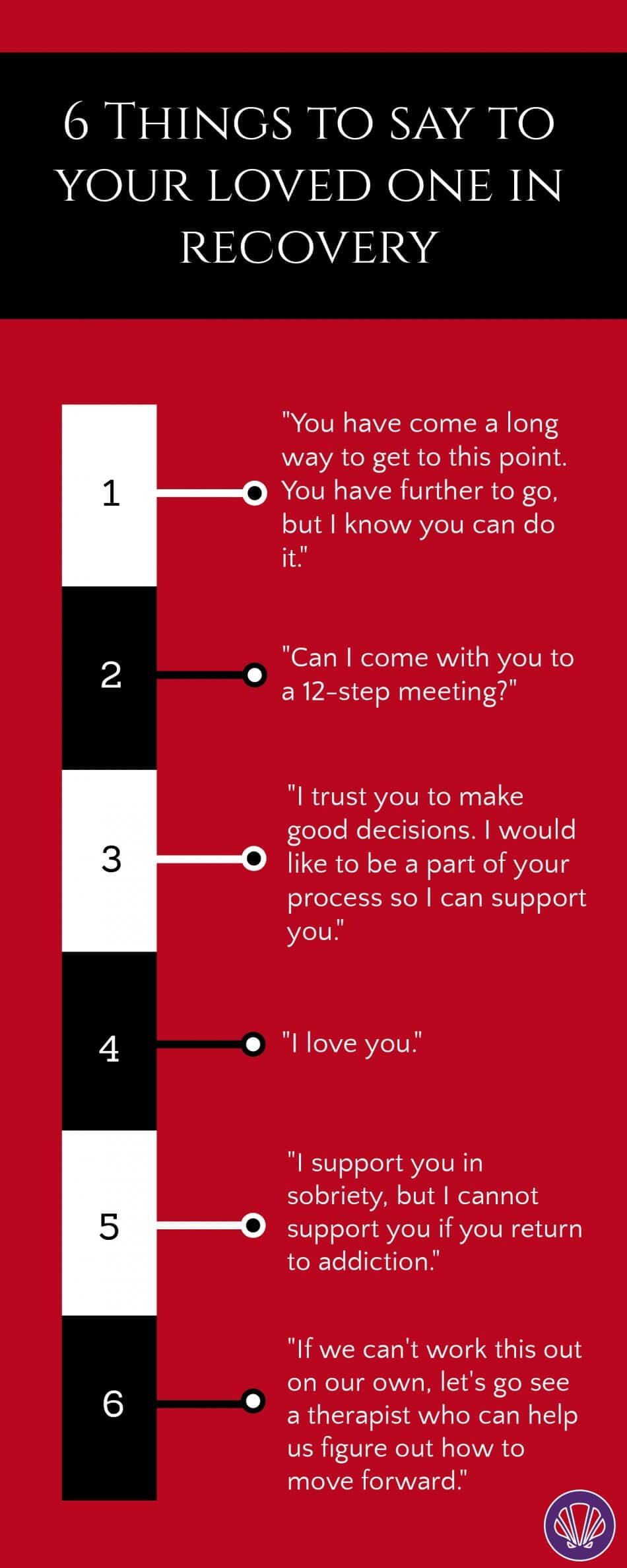 Infographic on six things to say to your loved one in recovery