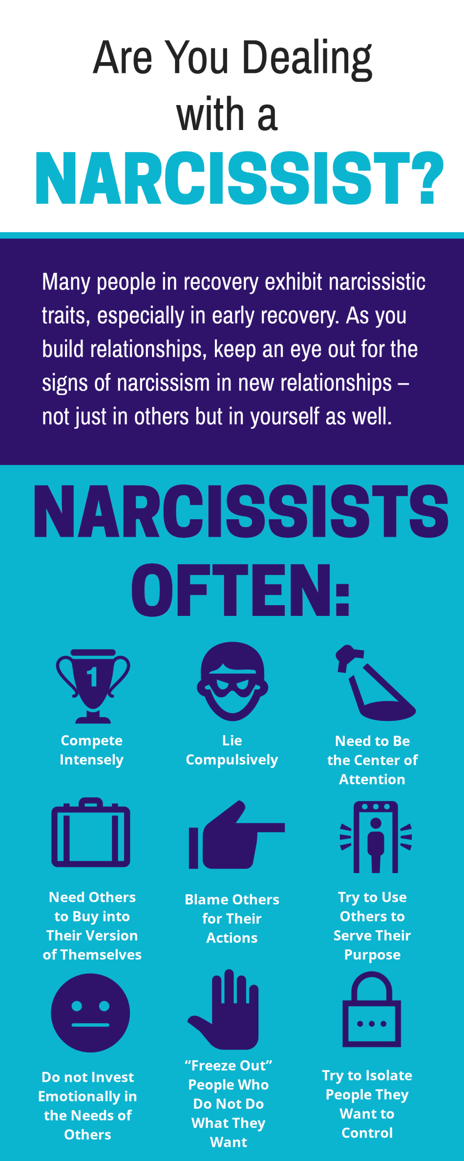 infographic of signs your are dealing with a narcissist