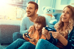 parents going to rehab leads to happy family playing video games together
